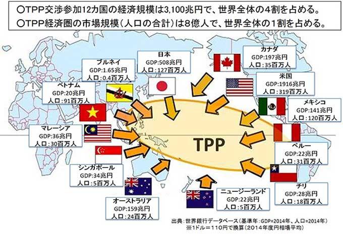 出典:TPP協定交渉参加国 | TPP(環太平洋パートナーシップ)協定交渉の大筋合意 - 首相官邸ホームページ