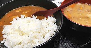 吉野家のカレーと豚汁。日本は食べ物が安い!