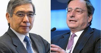 From Wikimedia Commons Haruhiko Kuroda | Mario Draghi