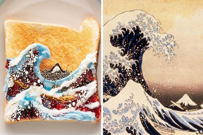 食べられるアート? 葛飾北斎・モネなど世界の名画を「食パン」に再現!