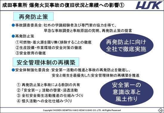 放電精密、2Qは増収減益 成田事業所・爆発火災事故による代替生産が影響
