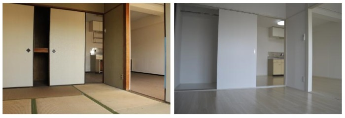 周辺エリアの入居者ニーズを元に和室(左)から洋室(右)へと変更