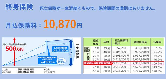 終身保険の事例(点線が払込金額、青い線が解約払戻金の推移)