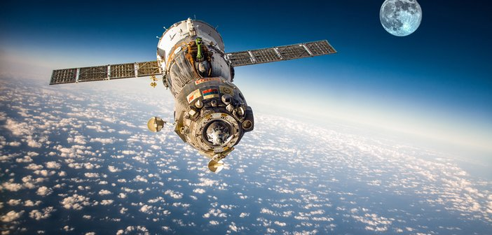 Spacecraft,Soyuz,Orbiting,The,Earth.,Elements,Of,This,Image,Furnished