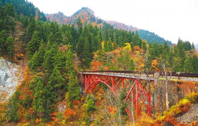 かつての鉱山跡地、太良峡(だいらきょう)の紅葉。ブナや秋田杉など樹種も豊富で、四季を通じて自然美が楽しめる。