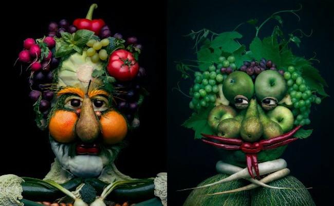 野菜と果物の肖像画「アルチンボルド」を故意に模倣したアート作品