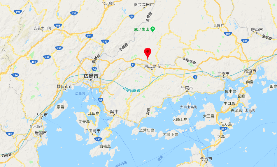 Googleマップより。赤い目印が東広島市「八本松町正力」