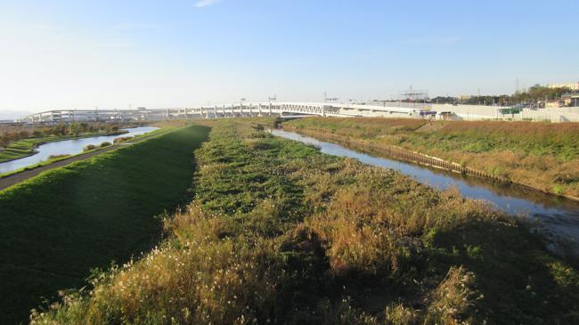 新横浜公園内の池(左)、鶴見川(右)
