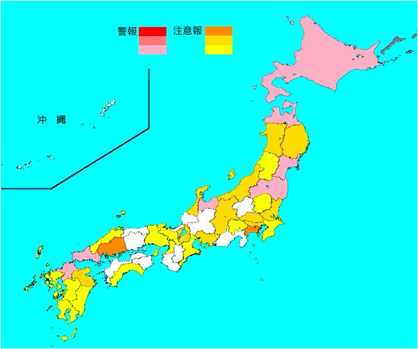 画像1(厚生労働省「インフルエンザ流行レベルマップ」第49週より)