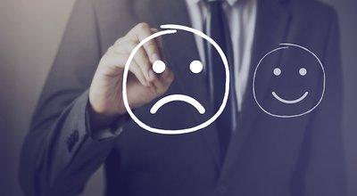 Customer,Choosing,To,Write,Unhappy,Face,On,Virtual,Screen,Over