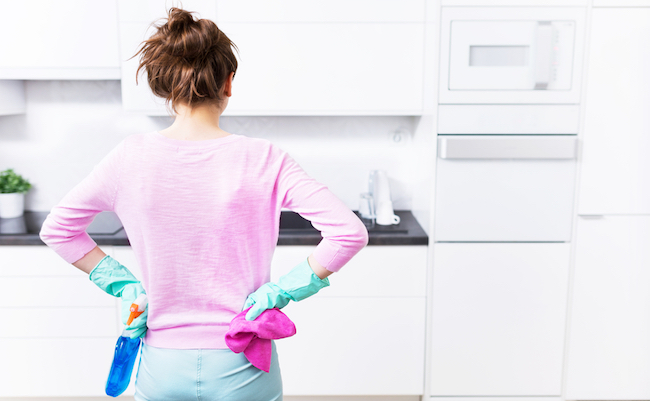 Woman,Cleaning,Kitchen