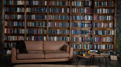 Bookshelves,In,The,Library.,Large,Bookcase,With,Lots,Of,Books.