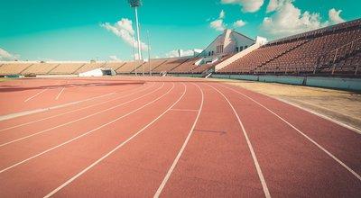 Red,Running,Track,In,Stadium.